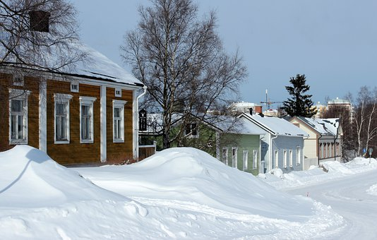 Oulu, Finland, Winter, Snow, Ice, Trees, Houses