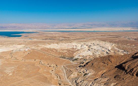 Masada, Israel, Desert, Landscape, Horizon, Scenic View