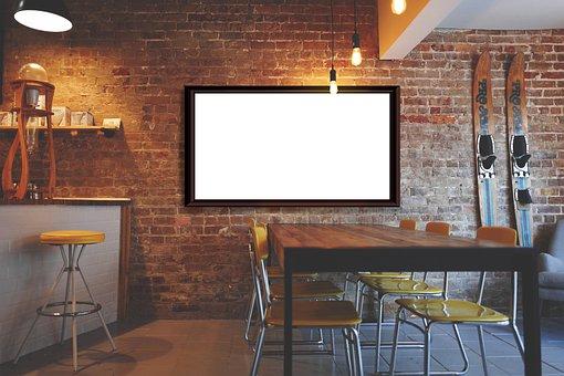 Frame, Restaurant, Interior, Copy Space, Mockup