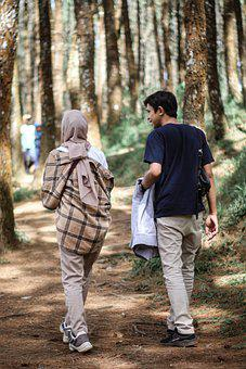 Couple, Hiking, Forest, Trekking, Woods, Nature