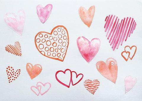 Hearts, Art, Symbol, Pattern, Cutout, Love, Watercolor