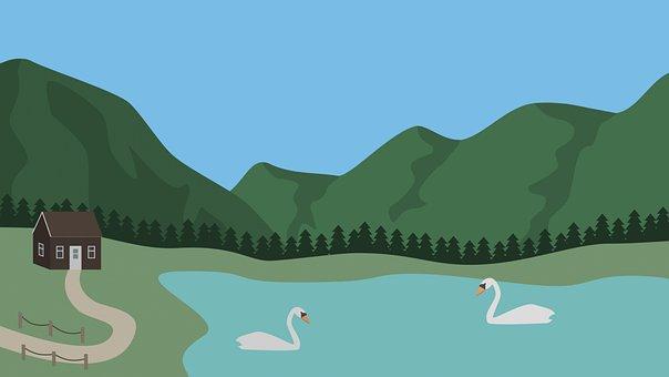 Lake, Swans, Village, Park, Mountain, Animal, House