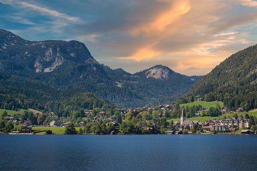 Nature, Town, Lake, Mountains, Countryside, Altaussee