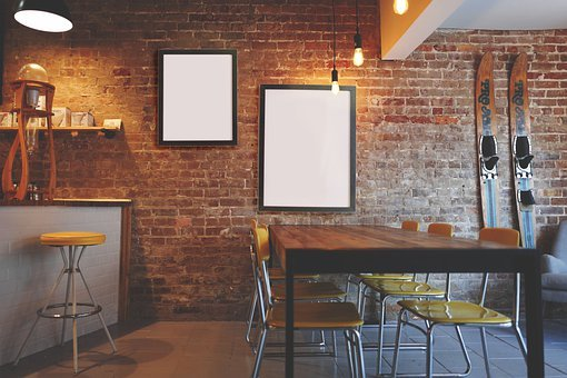 Frames, Restaurant, Interior, Copy Space, Mockup