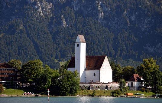 Church, Nature, Outdoors, Travel, Lake, Mountains