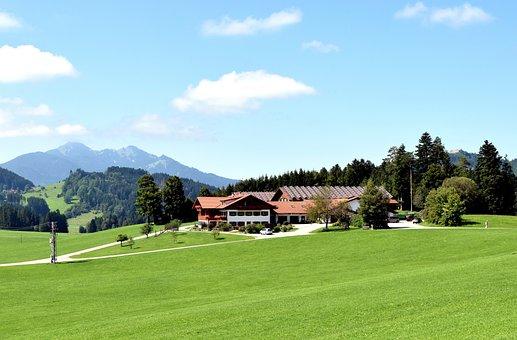 Building, House, Mountains, Meadow, Allgäu, Bavaria