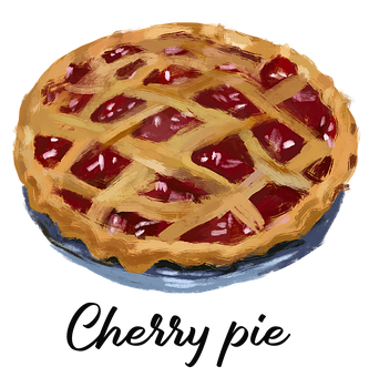Cherry Pie, Dessert, Pastry, Baked Goods, Drawing