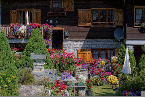 House, Mountain Chalet, Garden, Flowers, Gardening