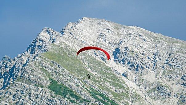 Paraglider, Mountains, Summit, Peak, Mountain Range
