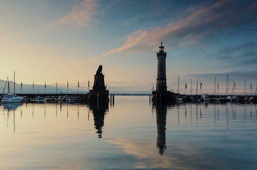 Lighthouse, Sea, Sunset, Sundown, Sonnenuntergang