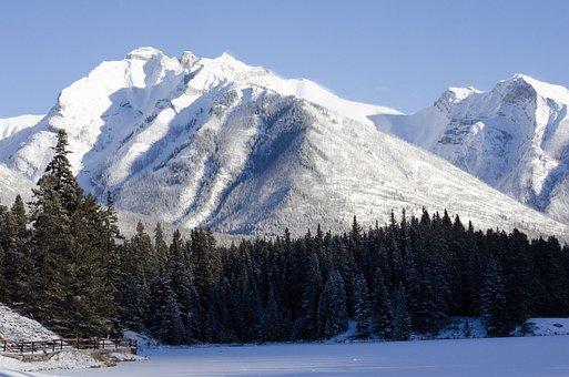 Winter, Mountain, Snow, Frozen, Lake, Trees, Nature