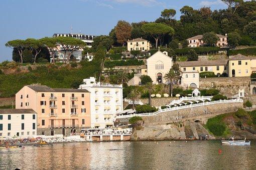 Sea, Hill, Buildings, Boats, Coast, Sestri Levante