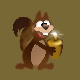 Squirrel, Animal, Cartoon, Rodent, Light, Cute, Funny