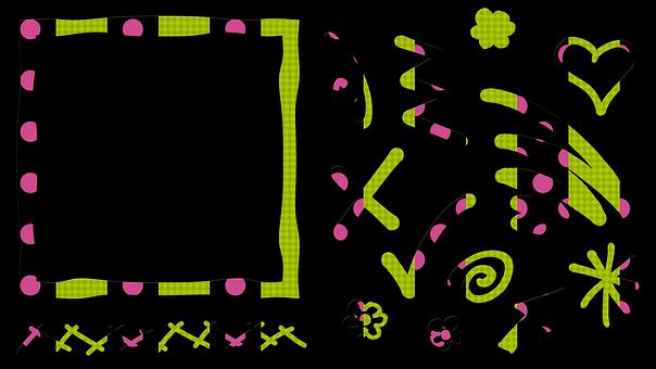 Frame, Ornament, Arrow, Heart, Flower, Dots, Decorative