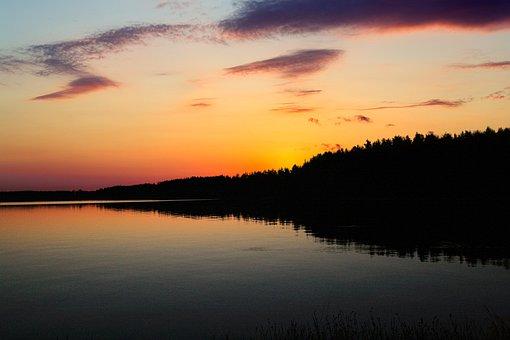 Lake, Sunset, Horizon, Silhouette, Trees, Forest