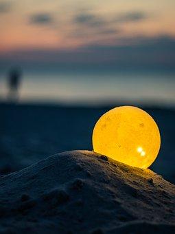 Night, Beach, Lamp, Light Bulb, Sea, Seashore, Poland
