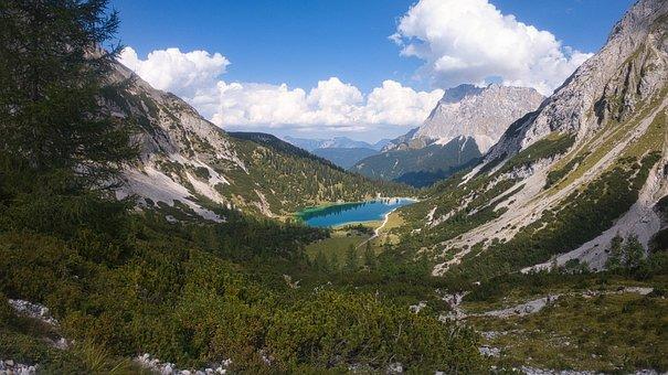 Mountains, Lake, Seebensee, Austria, Nature, Valley