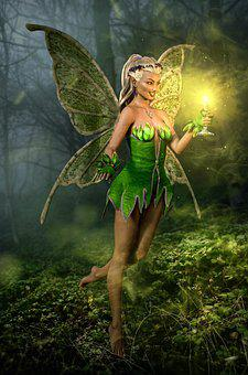 Elf, Moss, Wings, Candle, Forest, Magic, Fairy Tale