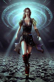 Book Cover, Woman, Amazone, Running, Light
