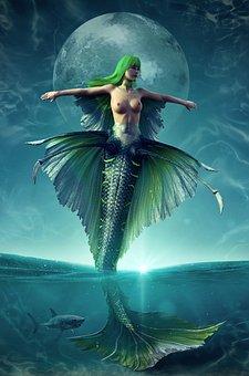 Mermaid, Ocean, Sea, Moon, Shark, Magic, Mystical