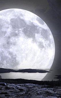 Moon, Lake, Full Moon, Reflection, Lunar, Night