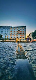 Streets, Road, Asphalt, Buildings, Reflection, Dusk