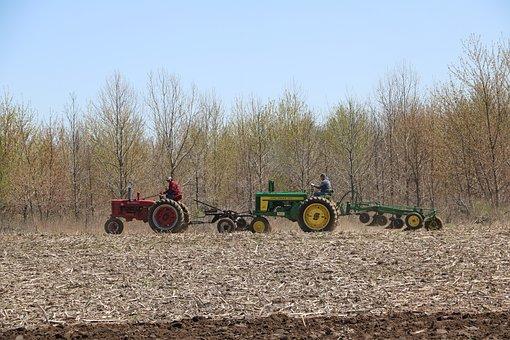 Farmers, Tractors, Plows, Plowing, John Deere, Antique