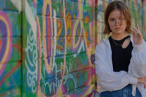 Woman, Model, Portrait, Pose, Graffiti, Glasses, Style