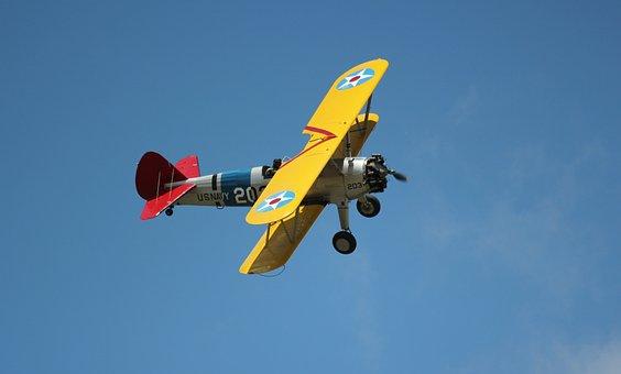 Airplane, Plane, Biplane, Stearman, Warbird, Us Navy