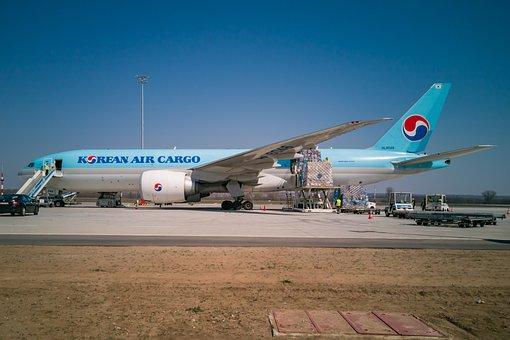 Korean Air Cargo, Airplane, Aircraft, Boeing 777