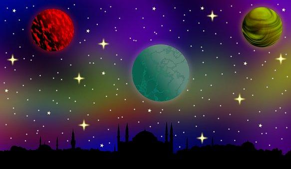 Planets, Stars, Space, Aurora, Galaxy, Night, Sky