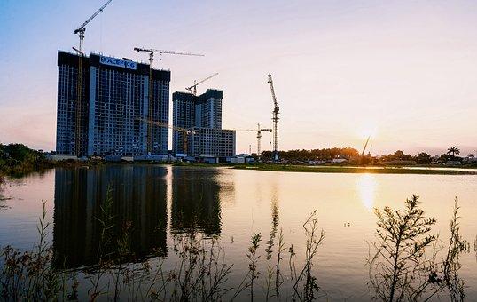 Sunset, Lake, Construction Site, Building