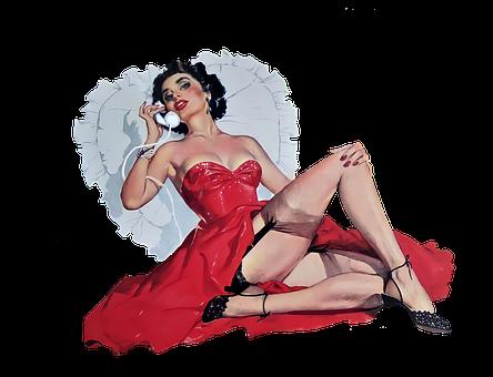 Fashion, Model, Pin-up Girl, Red Dress, Vintage, Retro