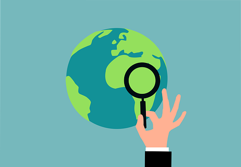 Global, Search, Exploration, Magnifying Glass, Earth