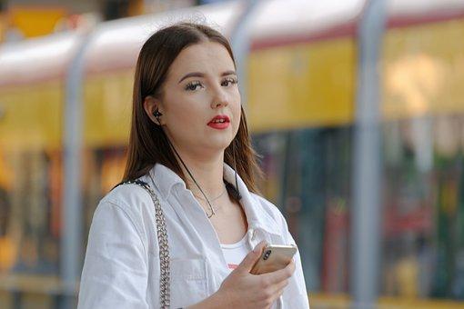 Woman, Waiting, Portrait, Tram Station, Girl