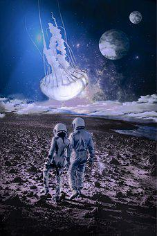 Astronaut, Space, Fantasy, Planets, Universe, Jellyfish