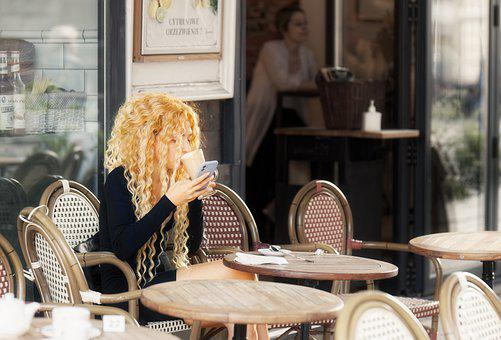 Woman, Al Fresco, Restaurant, Girl, Curly Hair, Blonde