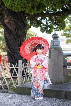Girl, Kid, Model, Kimono, Portrait, Pose, Style