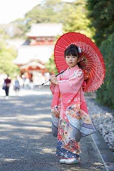 Kimono, Japanese Umbrella, Girl, Kid, Child