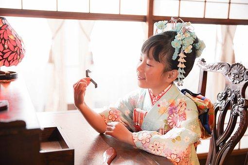 Girl, Kid, Kimono, Pose, Style, Fashion, Posing, Young
