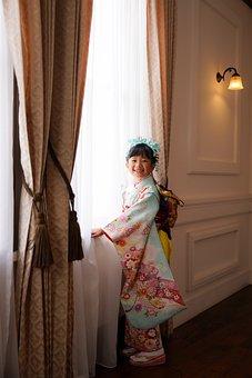 Girl, Kid, Kimono, Portrait, Pose, Style, Fashion