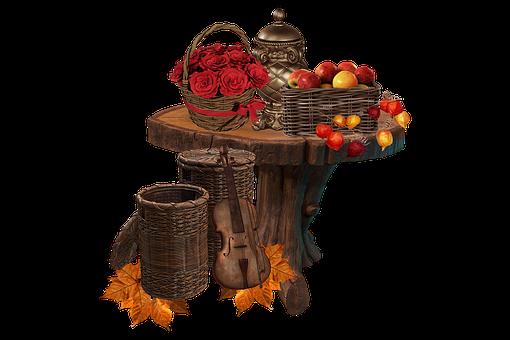 Autumn, Fall, Season, Table, Apples, Roses, Violin
