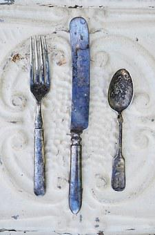 Vintage, Antique, Silverware, Spoon, Knife, Fork, Table