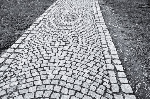 Cobblestones, Pavement, Czech, Artistic, Black, White