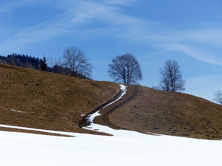 Alpine Way, Spring, Snow Reste, Away, Dirt Track