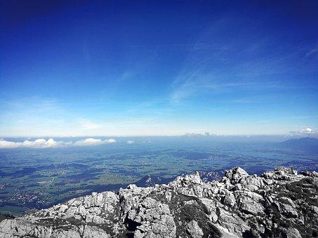 Allgäu, Mountains, Sky, Blue, Clouds, Hiking, Stone