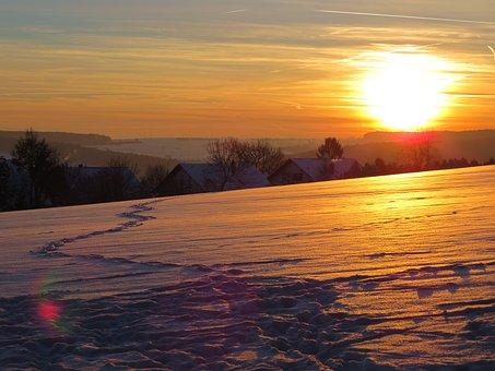 Trace, Snow, Snow Lane, Sunset, Sun, Sky, Clouds
