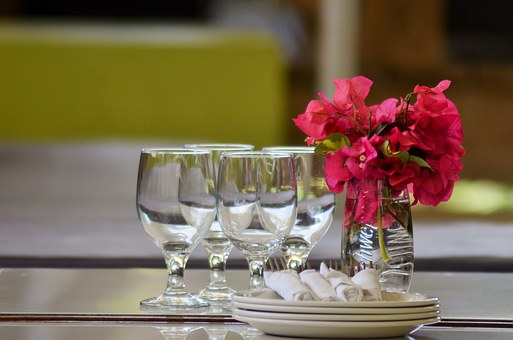 Dishes, Glasses, Table, Plates, Cutlery, Bougainvilleas