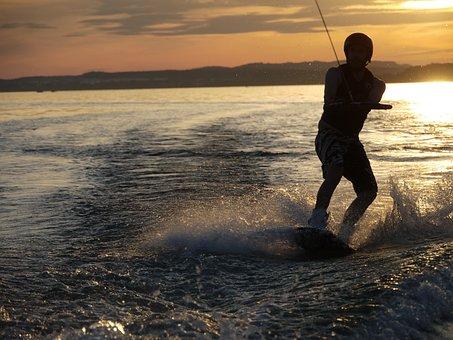 Lake, Lake Constance, Wakeboard, Boot, Summer, Water