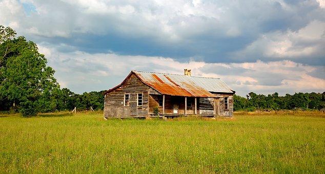 Alabama, Meadow, Field, Sky, Clouds, Log Cabin, Cottage